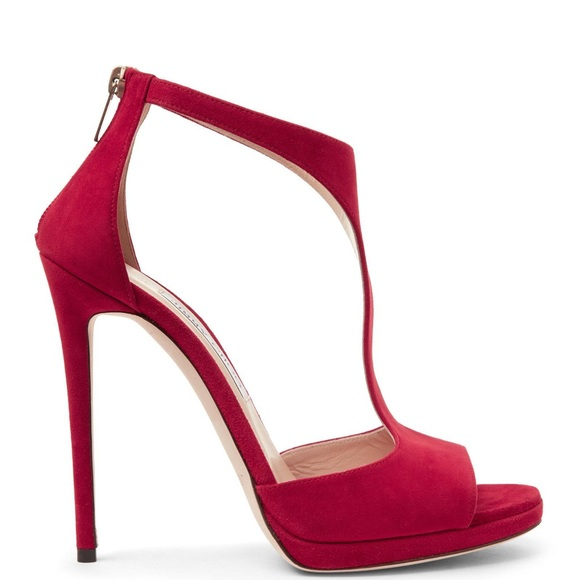d70d88f5d51 Red Jimmy Choo Lana Suede T-Strap 100mm Heels NEW!